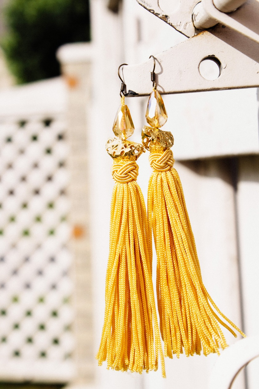 These tassel earrings were handmade by a friend.  Aren't they gorgeous?