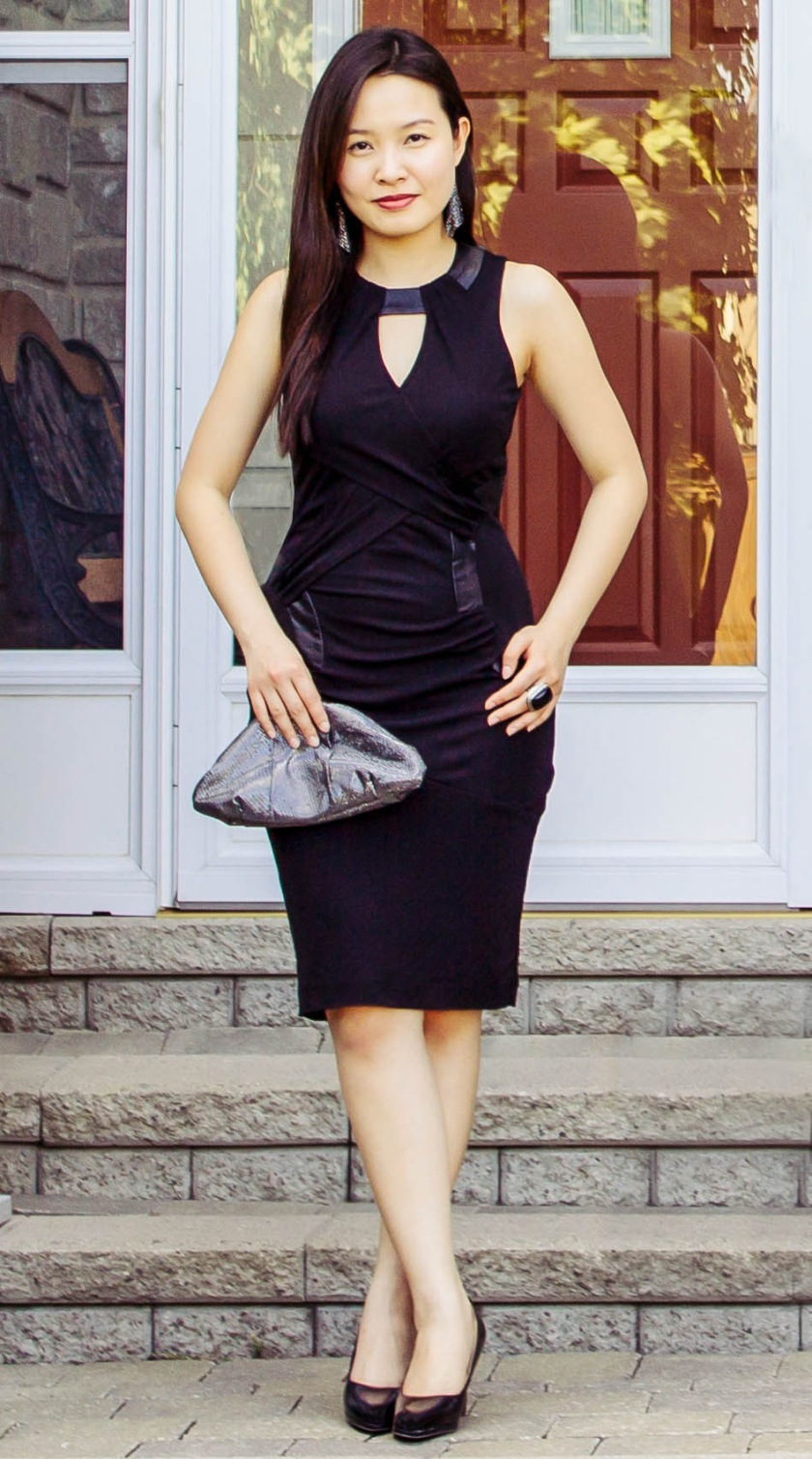 little black dress with leather details