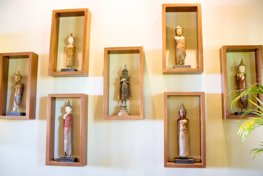 small statues on the wall