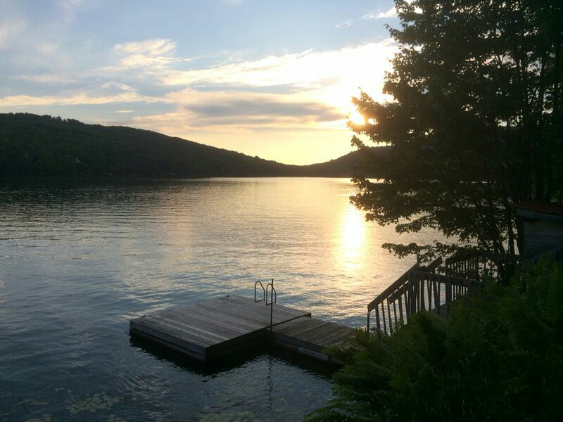 sunset on a lake in Mont Tremblant