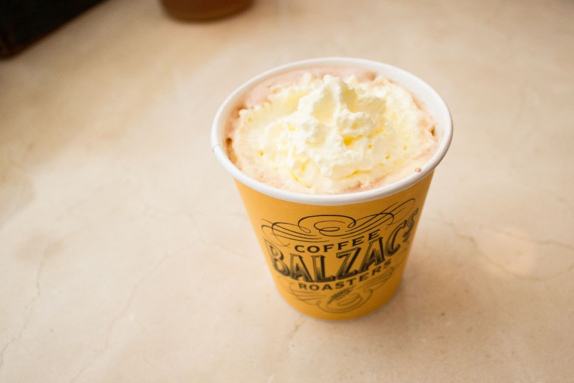A cup of hot chocolate at Balzac's Coffee Roasters.