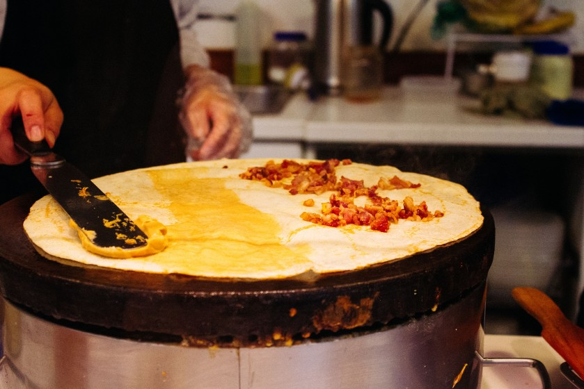 Bacon. Peanut butter. Crepe.  From Crepe It Up