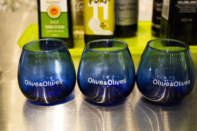 Glasses for olive oil tasting. We tried shots of olive oil, which smelled wonderful but it felt strange to drink the rich, buttery liquid.