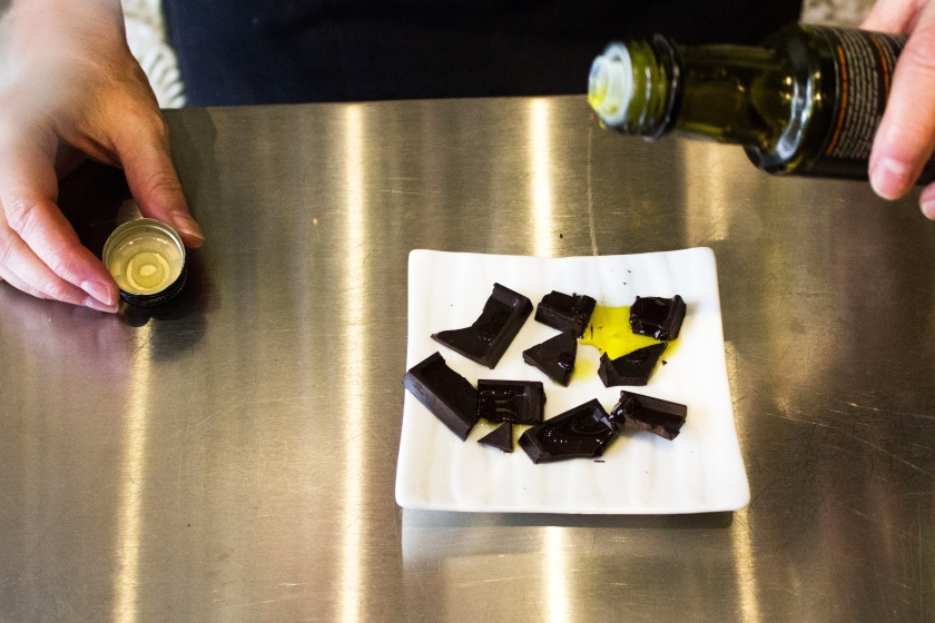 Olive oil over chocolates.